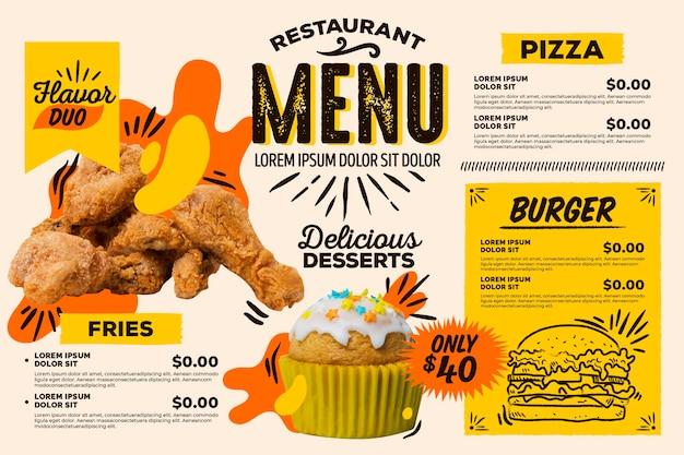 Cyfrowe poziome menu restauracji fast-food