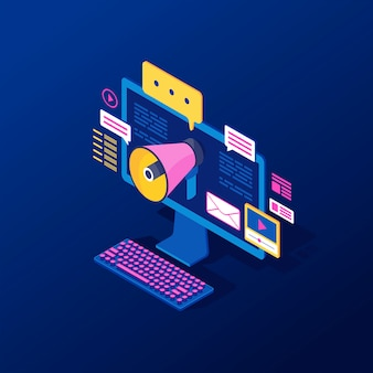 Cyfrowe, przychodzące marketingu izometryczny ilustracji wektorowych