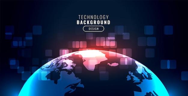 Cyfrowe realistyczne tło globalnej technologii ziemi