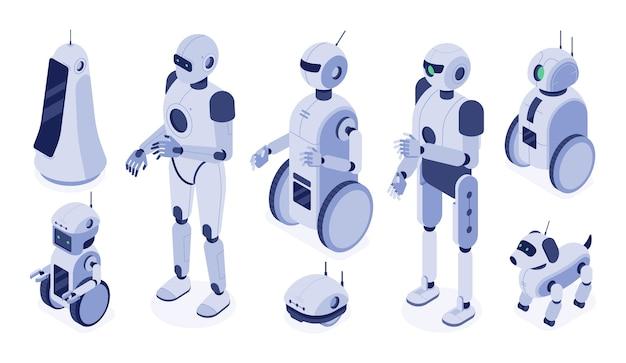 Cyfrowe roboty-maszyny, futurystyczny rozwój androida i postać robota 3d.