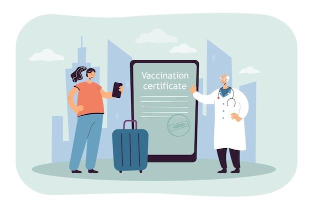 Cyfrowe świadectwo szczepień na ekranie tabletu. dziewczyna zaszczepiona przeciwko koronawirusowi, aby podróżować płaską ilustracją