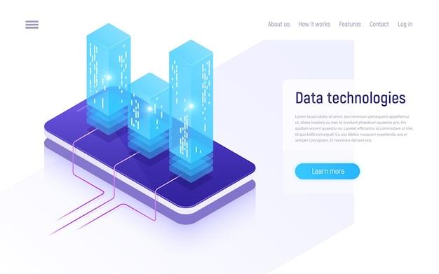 Cyfrowe technologie informacyjne, sieci, przetwarzanie danych, izometryczna koncepcja przechowywania w chmurze.