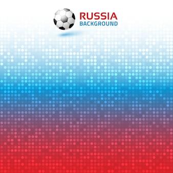 Cyfrowe tło gradientowe jasny czerwony niebieski piksel. kolory flagi rosji. ikona piłki nożnej.