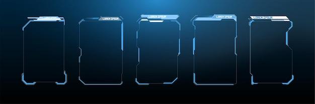 Cyfrowe tytuły objaśnień. zestaw szablonów, nowoczesne banery dolnej trzeciej części do prezentacji. zestaw elementów ekranu interfejsu użytkownika futurystycznej ramki hud, ui, gui. zestaw z komunikacją wywołań.