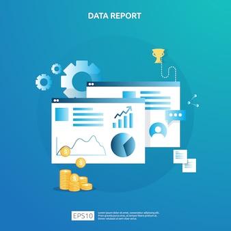 Cyfrowe wykresy do analizy i strategii seo. informacje statystyczne, dokument raportu z audytu finansowego, badania marketingowe dla koncepcji zarządzania przedsiębiorstwem.