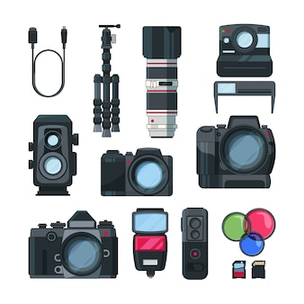 Cyfrowe zdjęcia i kamery wideo w stylu kreskówki