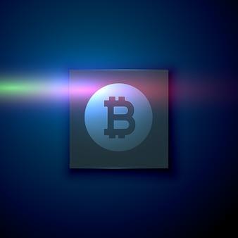 Cyfrowego bitcoin symbol na zmroku - błękitny technologii tło
