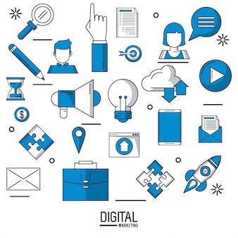 Cyfrowego marketing i reklamowy infographic nad białą tło wektoru ilustracją