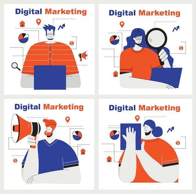 Cyfrowego marketingu pojęcia ilustracja w nowożytnym mieszkaniu i czystym projekcie. mężczyźni i kobiety korzystają z laptopa i tabletu, szukając i promując. strona docelowa, jednostronicowa aplikacja do tworzenia stron internetowych, projektowania.