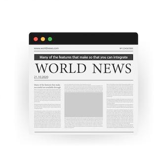 Cyfrowej wiadomości pojęcie z biznesową gazetą na parawanowym laptopie, ikona odizolowywająca na bielu