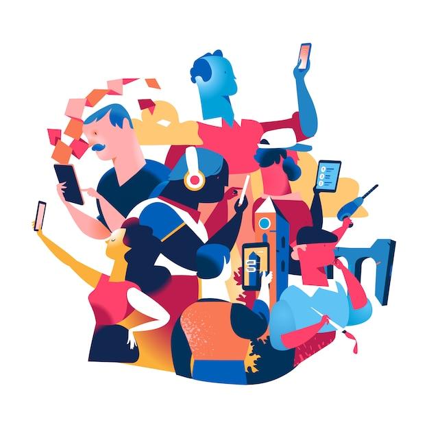 Cyfrowo uzależnieni ludzie z urządzeniami mobilnymi. współczesne technologiczne społeczeństwo cyfrowe i styl życia