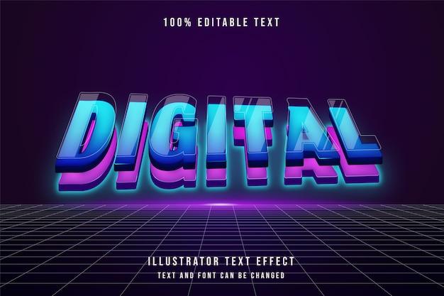 Cyfrowy, 3d edytowalny efekt tekstowy niebieski gradacja różowy nowoczesny futurystyczny styl warstw