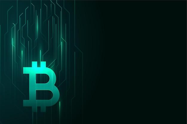 Cyfrowy bitcoin świecący projekt tła