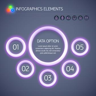 Cyfrowy biznes infografika szablon z fioletowym neonowym świecącym okręgami pięć opcji tekstu i ikon na białym tle