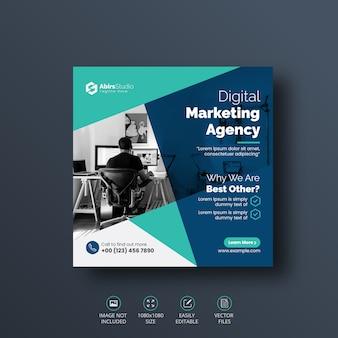 Cyfrowy biznes marketing social media post szablon transparent