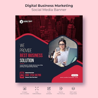 Cyfrowy biznes marketing społecznościowy baner lub szablon ulotki kwadratowej