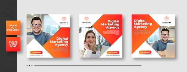 Cyfrowy biznes marketing społecznościowy post i banner internetowy