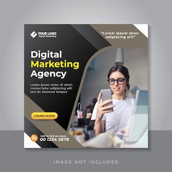 Cyfrowy biznes marketing w mediach społecznościowych lub kwadratowa ulotka