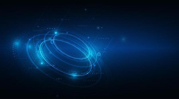 Cyfrowy biznes, wektor tech koło i technologia tło