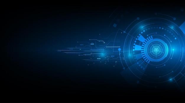 Cyfrowy biznes wektor tech koło i technologia tło
