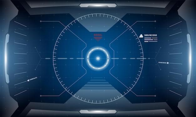 Cyfrowy futurystyczny interfejs vr hud projekt symulatora wirtualnej rzeczywistości scifi wyświetlacz head up display