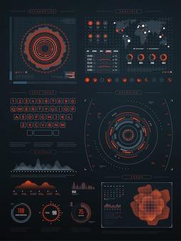 Cyfrowy futurystyczny wirtualny interfejs hud. ekran technologii wektorowej z wykresami danych. ilustracja interfejsu z danymi cyfrowymi