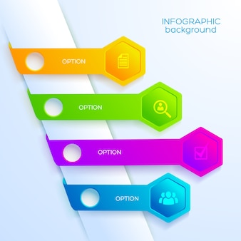 Cyfrowy infografika szablon z ikonami biznesu cztery kolorowe wstążki i sześciokąty