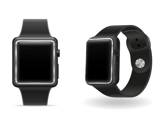 Cyfrowy inteligentny zegarek z ekranem dotykowym stockowa ilustracja wektorowa