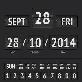 Cyfrowy kalendarz z czarną tablicą wyników z datą i godziną tygodnia