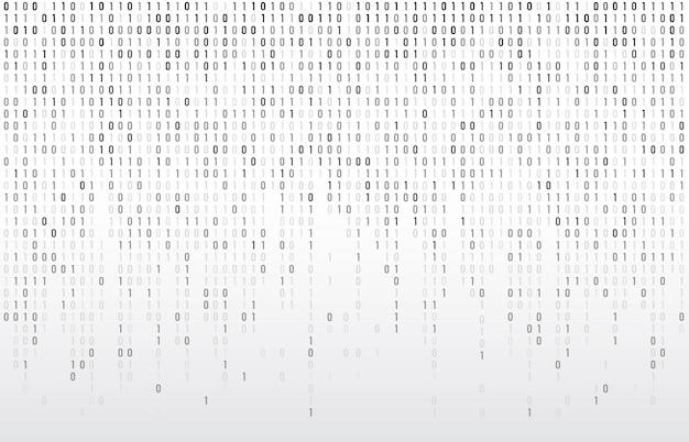 Cyfrowy kod binarny. komputerowe matrycowe dane spada liczby, koduje typografię i kodują strumień popielatą tło ilustrację