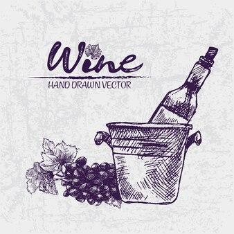 Cyfrowy kolor wektor szczegółowe sztuki wina