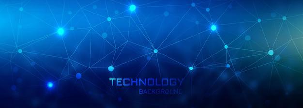 Cyfrowy łączący sztandar technologii wieloboka tło