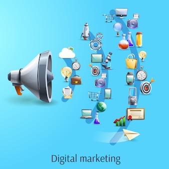 Cyfrowy marketing koncepcja płaski baner