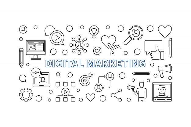 Cyfrowy marketing liniowy poziomy baner. ilustracja