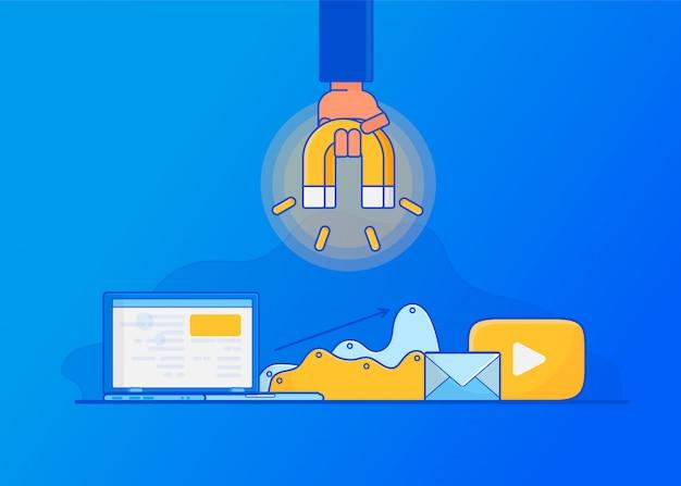 Cyfrowy marketing przychodzący, przyciąganie klientów online.