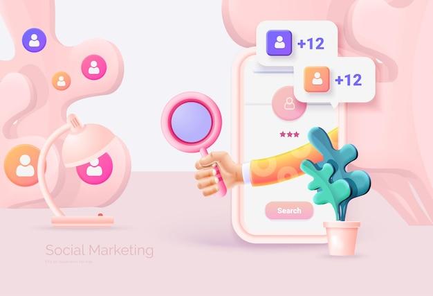 Cyfrowy marketing społecznościowy telefon komórkowy z interfejsem sieci społecznościowej ręka trzyma szkło powiększające wyszukiwanie i badanie grupy docelowej promocja w sieci społecznościowej ilustracja wektorowa styl 3d