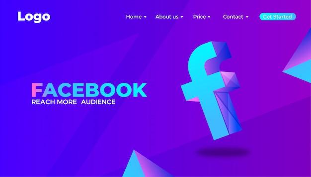 Cyfrowy marketingowy projekt strony docelowej na facebooku