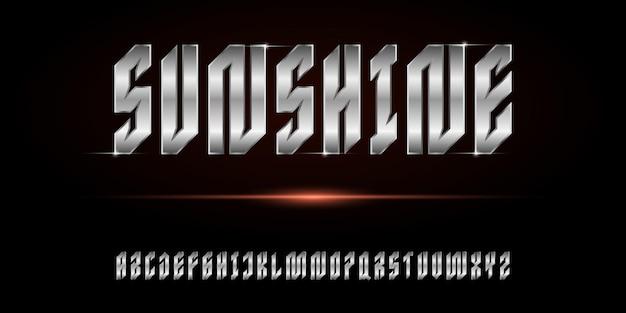 Cyfrowy nowoczesny alfabet skondensowany z szablonem stylu miejskiego
