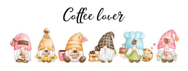 Cyfrowy obraz akwarela krasnale miłośnika kawy