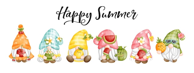 Cyfrowy obraz akwarela krasnale owocowe krasnale happy summer greetings card