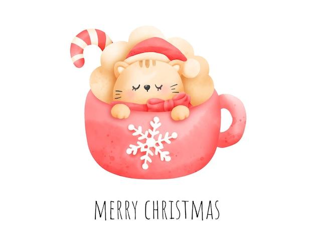 Cyfrowy obraz akwarela meowy kartka świąteczna. boże narodzenie kot w kubek wektor.