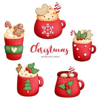 Cyfrowy obraz akwarela świąteczna filiżanka kawy