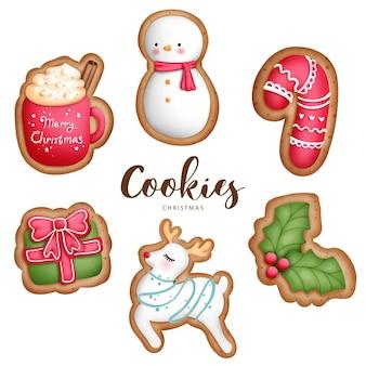 Cyfrowy obraz akwarela świąteczne ciasteczka zwierząt