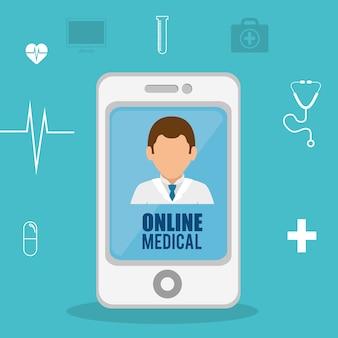 Cyfrowy opieki zdrowotnej technologii ikona wektor ilustracja projektu