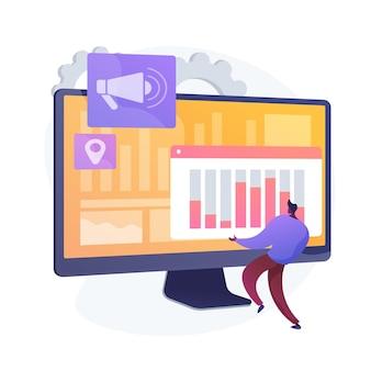 Cyfrowy plan marketingowy. biznes smm, interfejs analityczny online, reklama graficzna. analityk badający dane statystyczne dotyczące oceny marki. ilustracja wektorowa na białym tle koncepcja metafora