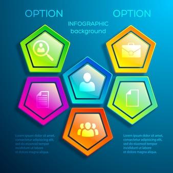 Cyfrowy plansza sieciowy szablon z błyszczącymi kolorowymi elementami sześciokątnymi i ikonami biznesowymi na białym tle