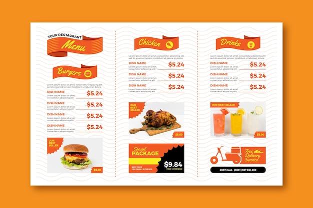 Cyfrowy poziomy szablon menu restauracji fast food
