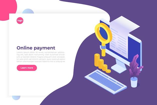 Cyfrowy rachunek, paragon elektroniczny lub ilustracja faktury izometrycznej. zakupy online na komputerze.