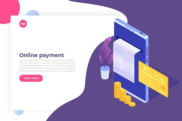 Cyfrowy rachunek, paragon elektroniczny lub ilustracja faktury izometrycznej. zakupy online na smartfonie.