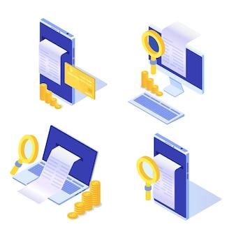 Cyfrowy rachunek, paragon elektroniczny lub ilustracja faktury izometrycznej. zakupy online.